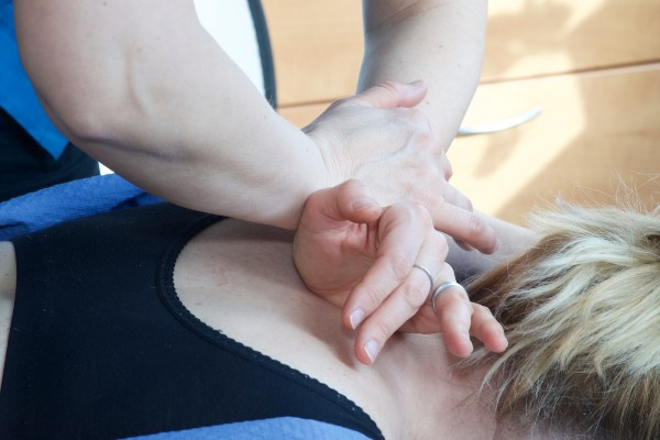 Pregnant chiropractic client receives spinal adjustment